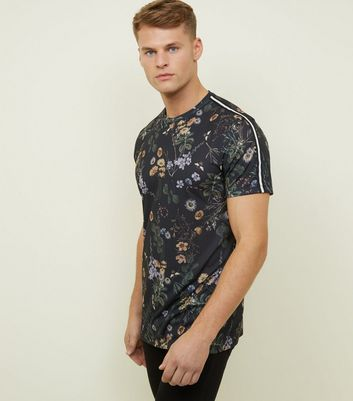 Black Side Stripe Dandelion Patterned T-Shirt