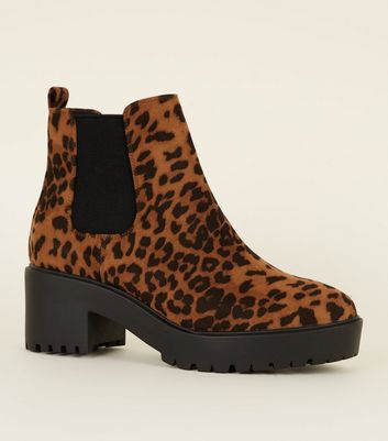 Tan Leopard Print Chunky Heeled Ankle Boots