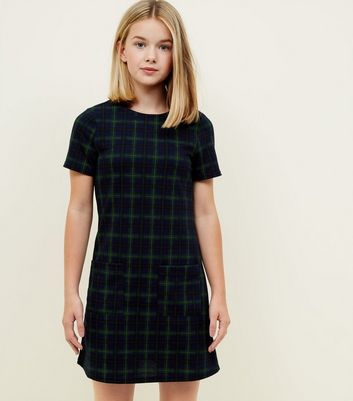 Girls Navy Check Pocket Front Tunic Dress