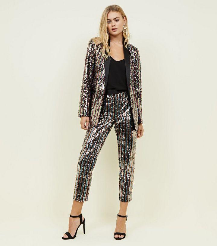 ee313120 Rainbow Sequin Slim Leg Trousers | New Look