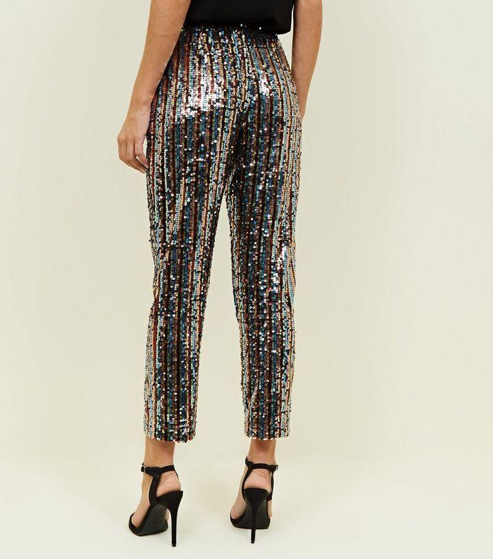 5e377df1 ... Rainbow Sequin Slim Leg Trousers. ×. ×. ×. 1