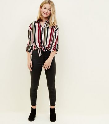 Girls Black Multi Stripe Tie Front Shirt