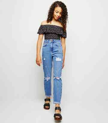Girls Bright Blue Ripped Stretch Mom Jeans