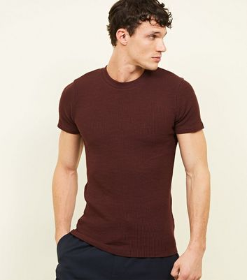 Burgundy Ribbed Muscle Fit T-Shirt