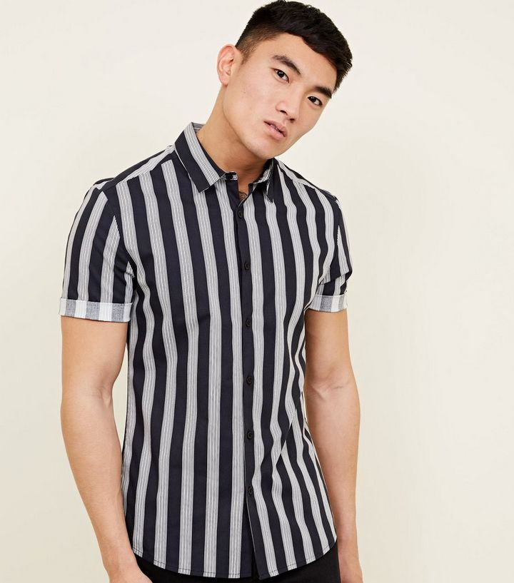 021a497c Navy Muscle Fit Stripe Printed Shirt | New Look