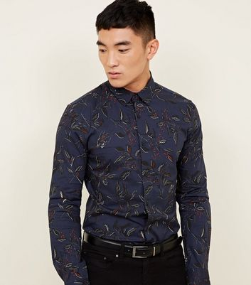 Navy Floral Print Long Sleeve Muscle Fit Shirt
