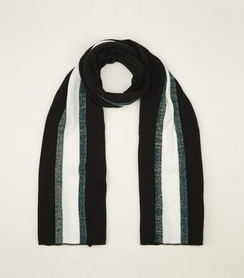 Black Metallic Stripe Longline Rib Scarf