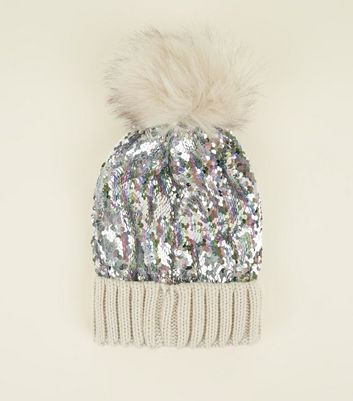 Multicoloured Iridescent Sequin Bobble Hat