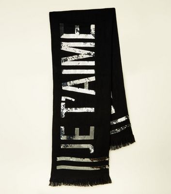 Black Je T'aime Sequin Slogan Scarf