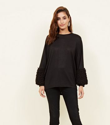 Black Fluffy Cuff Fine Knit Top