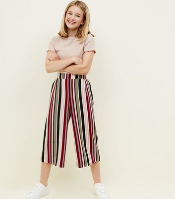 Girls Black Multi Stripe Culottes