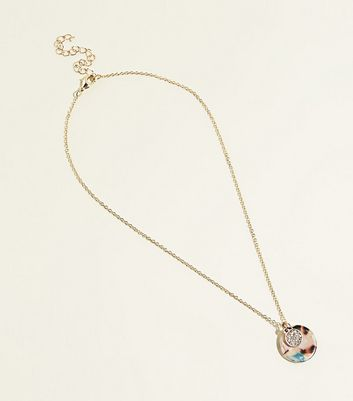 Gold Diamanté And Resin Pendants Necklace by New Look