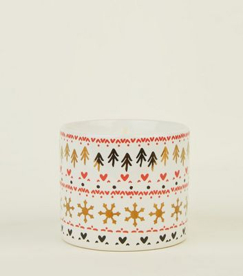 Red Festive Print Chocolate Marshmallow Scented Candle