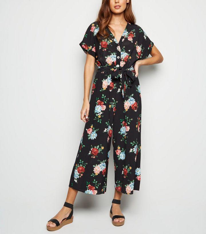b062bc8283 Black Floral Wide Leg Jumpsuit