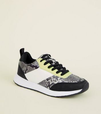 Girls Black Faux Snake and Neon Panel Trainers