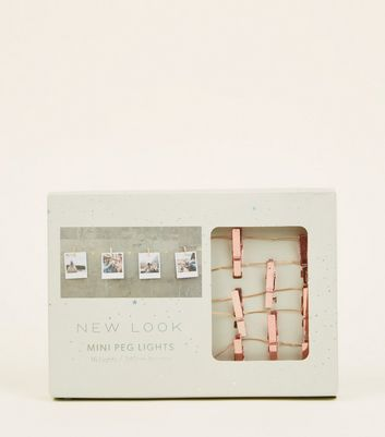 Rose Gold Photo Peg Fairy Lights by New Look