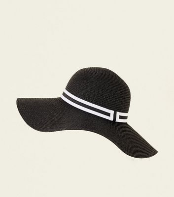 White Stripe Band Floppy Hat