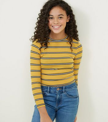 Girls Yellow Stripe Ribbed High Neck Top