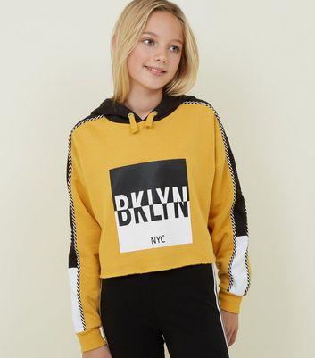 Girls Sweat moutarde design color block à capuche et slogan encadré NYC Ajouter à la Wishlist Supprimer de la Wishlist