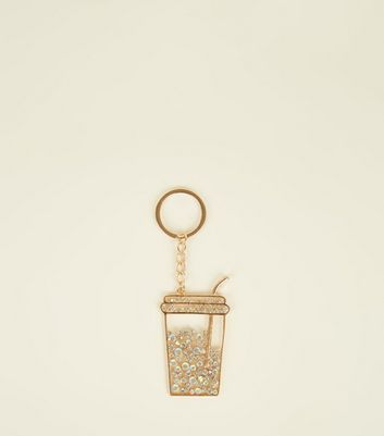 Gold Damanté Drink Cup Keyring
