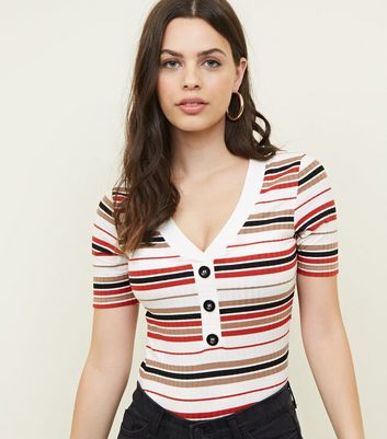 White Multi Stripe Button Front Ribbed T-Shirt