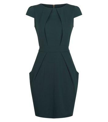 Blue Vanilla Dark Green Tie Back Tulip Dress New Look