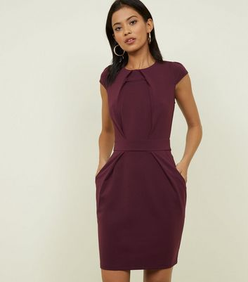 Blue Vanilla Dark Purple Tie Back Tulip Dress