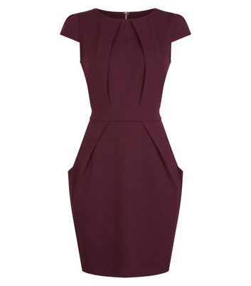 Blue Vanilla Dark Purple Tie Back Tulip Dress New Look