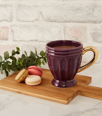 Purple and Gold Fluted Mug