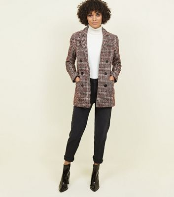 Red Check Boucle Coat