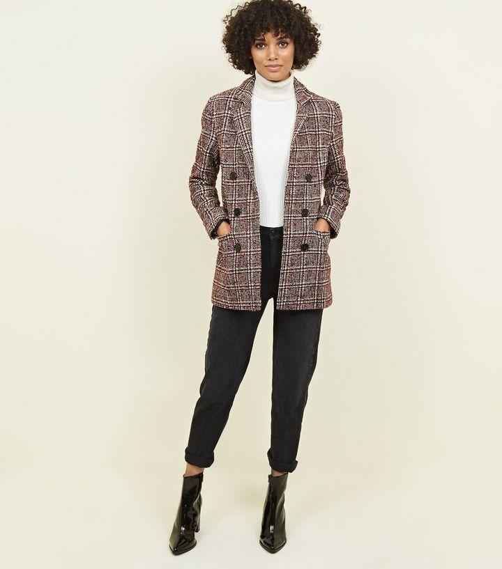 7c5bdaee9727 Red Check Bouclé Coat | New Look
