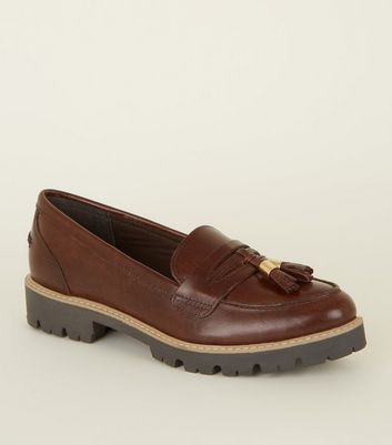 Rust Leather Chunky Sole Loafers
