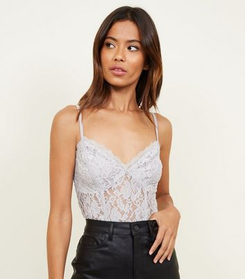 Pale Grey Glitter Lace Bodysuit