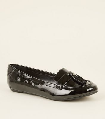 be48bd15ab6 NEW LOOK. EXTRA WIDE FIT BLACK PATENT TASSEL FRONT LOAFERS