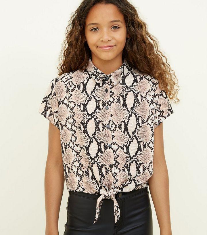 dcb31d687a3 Girls Light Brown Snake Print Shirt