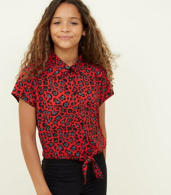 Girls Red Leopard Print Tie Front Shirt