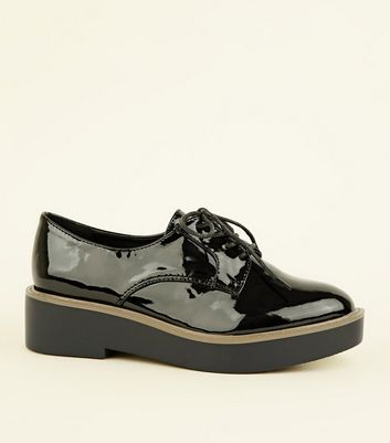 Wide Fit Black Patent Chunky Brogues