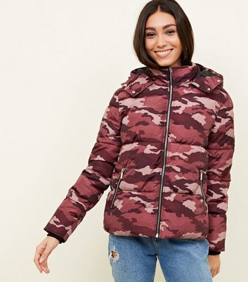 Burgundy Camo Hooded Puffer Jacket