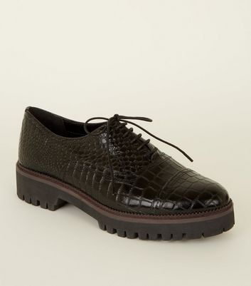 Black Leather Faux Croc Lace Up Shoes