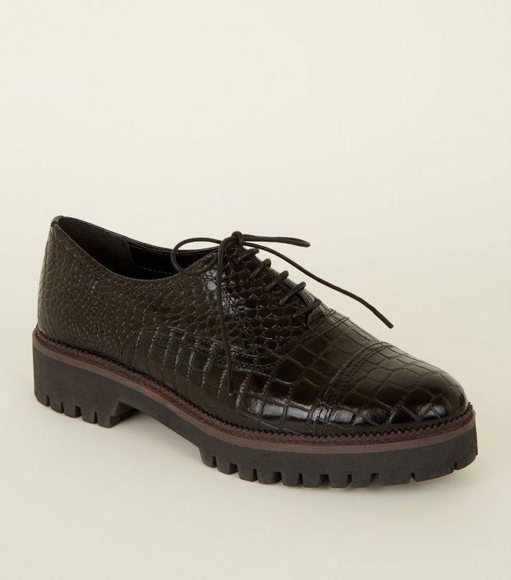 226fc93ebd6a Black Leather Faux Croc Lace Up Shoes