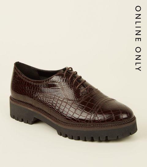 c227e0de14 ... Burgundy Leather Faux Croc Lace Up Shoes ...