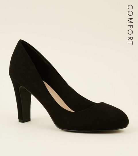 3fb1b5275cf ... Black Comfort Flex Suedette Court Shoes ...