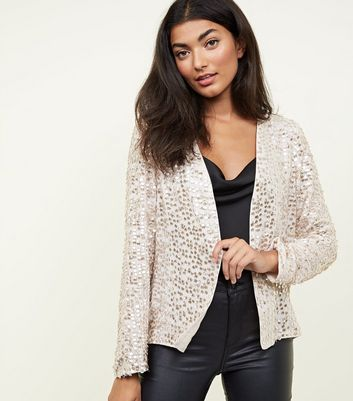 Gold Sequin Embellished Long Sleeve Cover Up