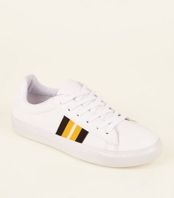 Girls White Leather-Look Side Stripe Trainers