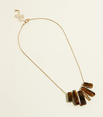 Dark Brown Faux Tortoiseshell Spike Necklace