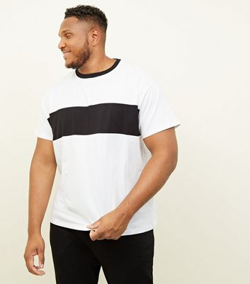 Plus Size Black Colour Block Stripe Basic T-Shirt