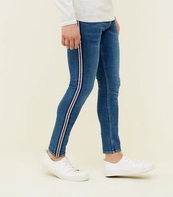 Blue Side Stripe Skinny Stretch Jeans