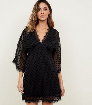 Mela Black Flocked Spot Chiffon Dress