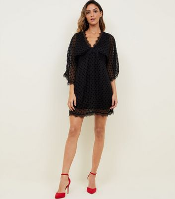 Mela Black Flocked Spot Chiffon Dress New Look