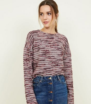 Red Boucle and Metallic Soft Knit Jumper